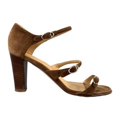 HERMES Size 10 Brown Suede Strappy Stacked Heel Sandals
