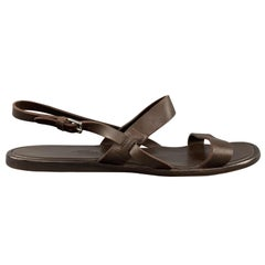 HERMES Size 12 Brown Leather Ankle Straps Sandals