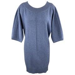 HERMES Size 6 Blue Cashmere Oversized Short Sleeve Sweater