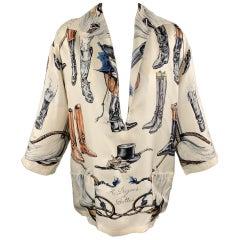 HERMES Size 6 Cream Silk Equestrian A PROPES DE BOTTES Print Blouse