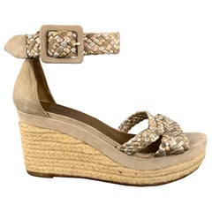 HERMES Size 7 Taupe Suede Metallic Braided Strap INES Espadrille Sandals