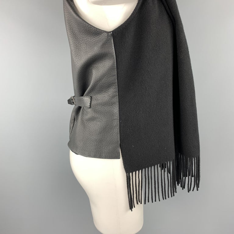 HERMES Size 8 Black Cashmere Fringe Leather Back Scarf Vest In Excellent Condition For Sale In San Francisco, CA