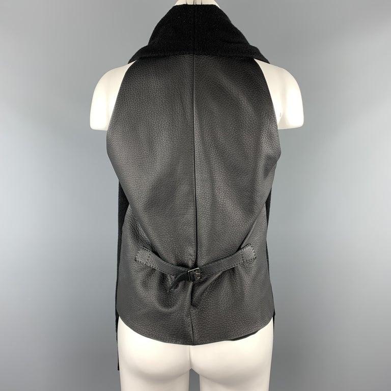 Women's HERMES Size 8 Black Cashmere Fringe Leather Back Scarf Vest For Sale