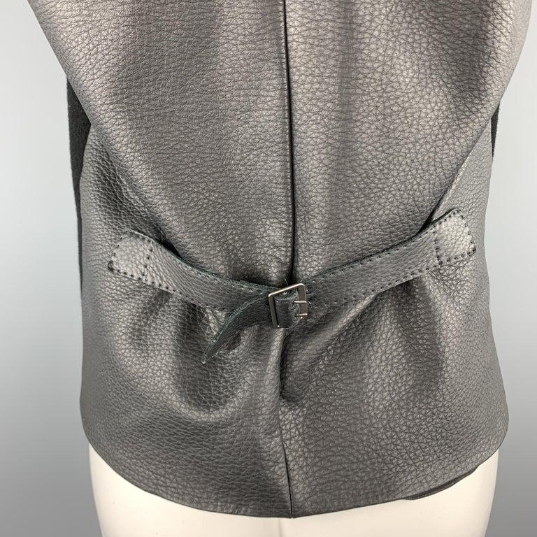 HERMES Size 8 Black Cashmere Fringe Leather Back Scarf Vest For Sale 1