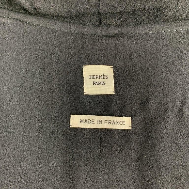 HERMES Size 8 Black Cashmere Fringe Leather Back Scarf Vest For Sale 2