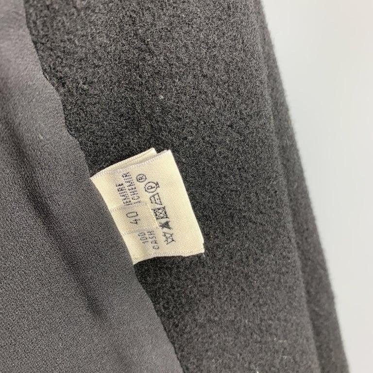 HERMES Size 8 Black Cashmere Fringe Leather Back Scarf Vest For Sale 3