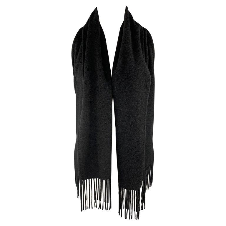 HERMES Size 8 Black Cashmere Fringe Leather Back Scarf Vest For Sale