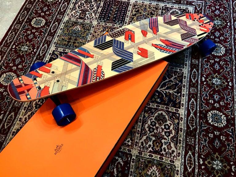 Beige Hermes Skateboard Deck Sangles en zigzag by  Henri d'Origny.