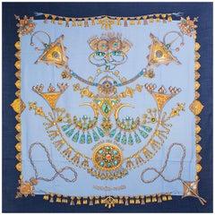 HERMES sky blue PARURES DES SABLES 140 cashmere silk Shawl Scarf