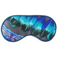Hermes Sleep Eye Mask Multi Color Silk Vibrant Feathers New w/Box