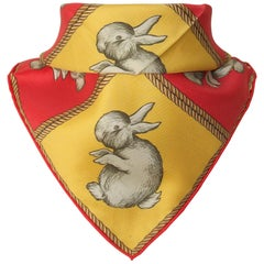 Hermès Small Carré Gavroche Pocket Square Rabbit Duck Illusion Silk Scarf