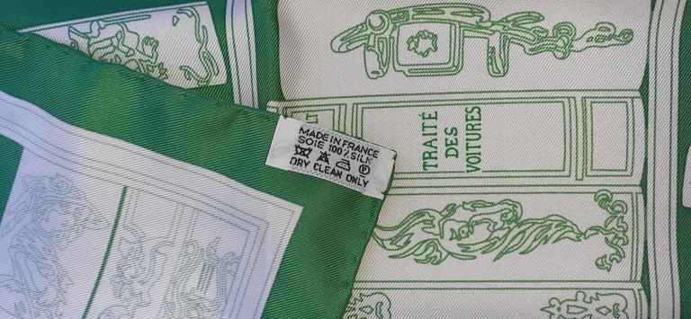 Hermès Small Silk Scarf Gavroche Bibliothèque Books White Green 42 cm 6