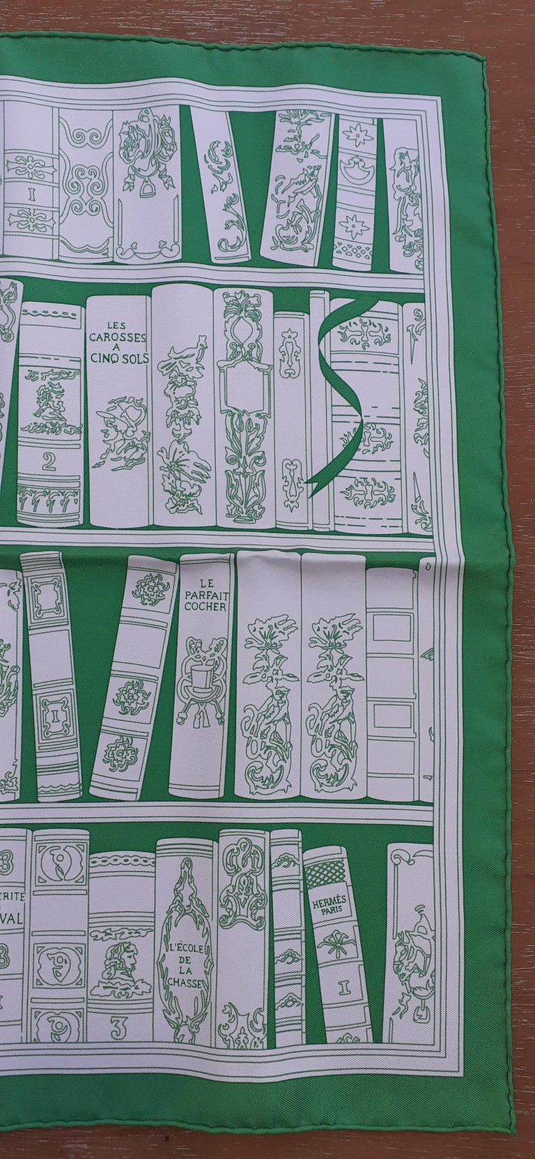 Gray Hermès Small Silk Scarf Gavroche Bibliothèque Books White Green 42 cm