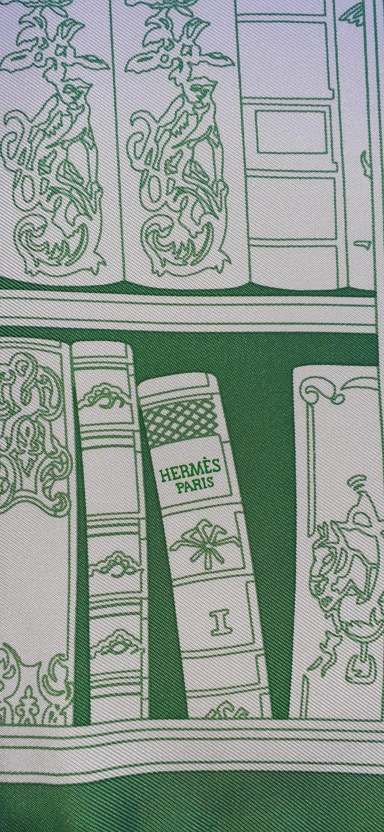 Hermès Small Silk Scarf Gavroche Bibliothèque Books White Green 42 cm 1