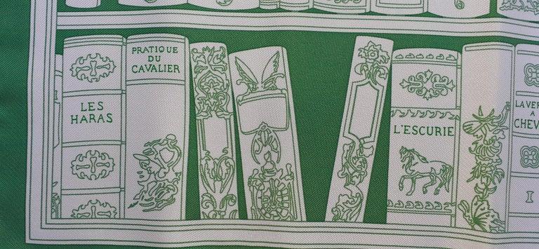 Hermès Small Silk Scarf Gavroche Bibliothèque Books White Green 42 cm 2
