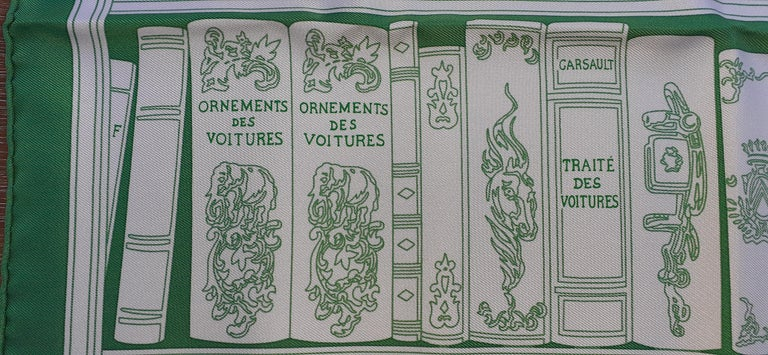 Hermès Small Silk Scarf Gavroche Bibliothèque Books White Green 42 cm 3