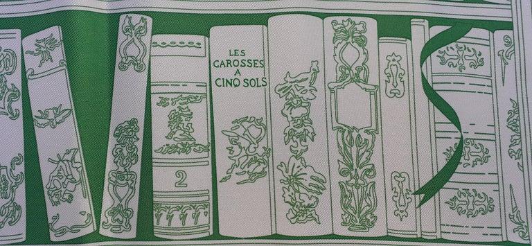 Hermès Small Silk Scarf Gavroche Bibliothèque Books White Green 42 cm 4