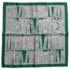 Hermès Small Silk Scarf Gavroche Bibliothèque Books White Green 42 cm