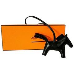 Hermes So Black Rodeo PM Bag Charm Horse New