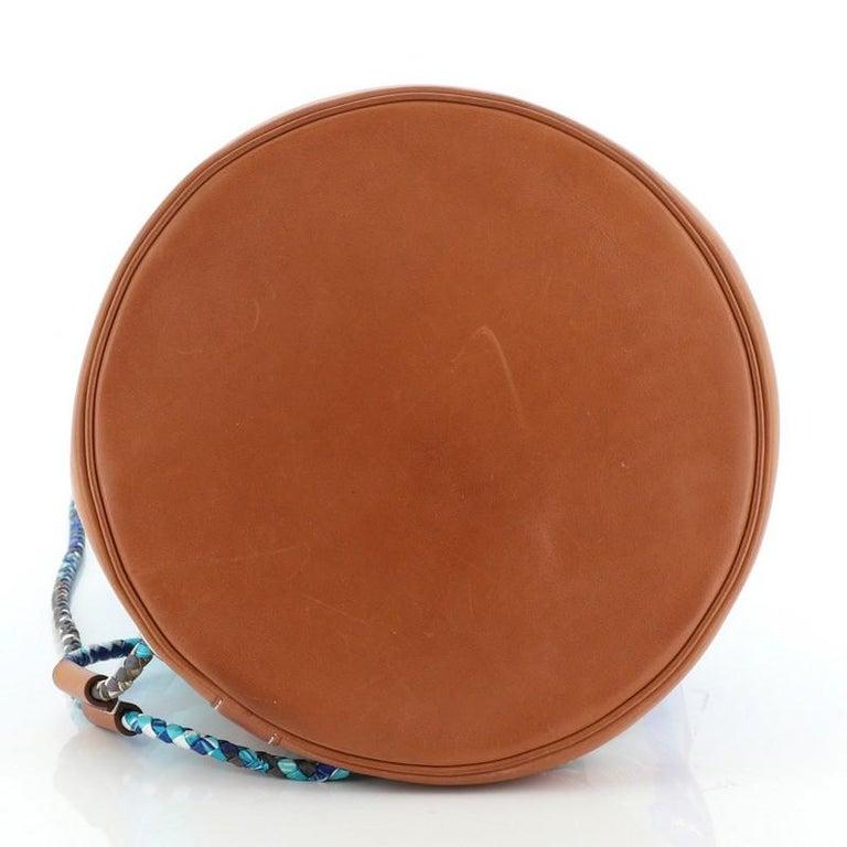 Women's or Men's Hermes Soie Cool Handbag Printed Silk and Calfskin Medium For Sale