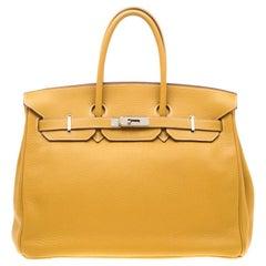 Hermes Soleil Togo Leather Palladium Hardware Birkin 35 Bag