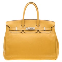 Hermes Soleil Togo Leather Palladium Hardware Birkin 35 Bag