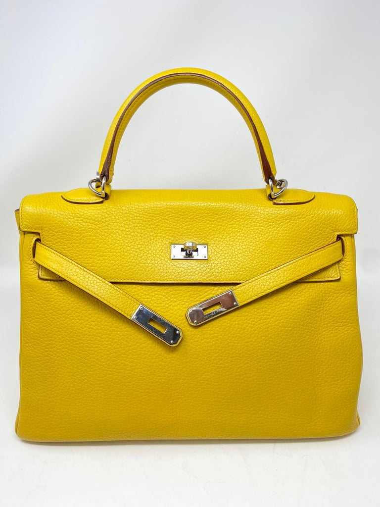 Hermes Soleil Yellow Kelly Bag  For Sale 4