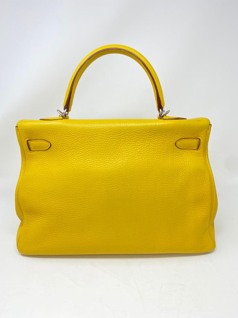 Hermes Soleil Yellow Kelly Bag  For Sale 5
