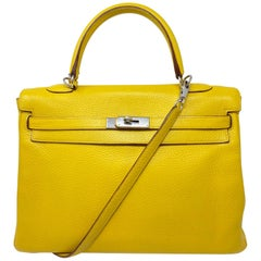 Hermes Soleil Yellow Kelly Bag