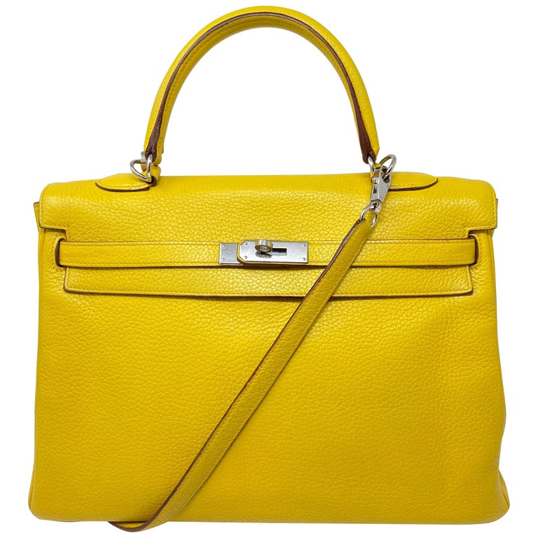 Hermes Soleil Yellow Kelly Bag  For Sale