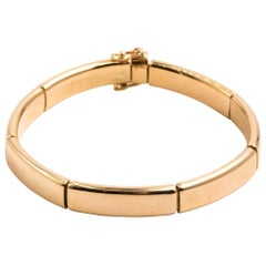 Hermes Solid 18 Karat Yellow Gold Flex Bangle Bracelet