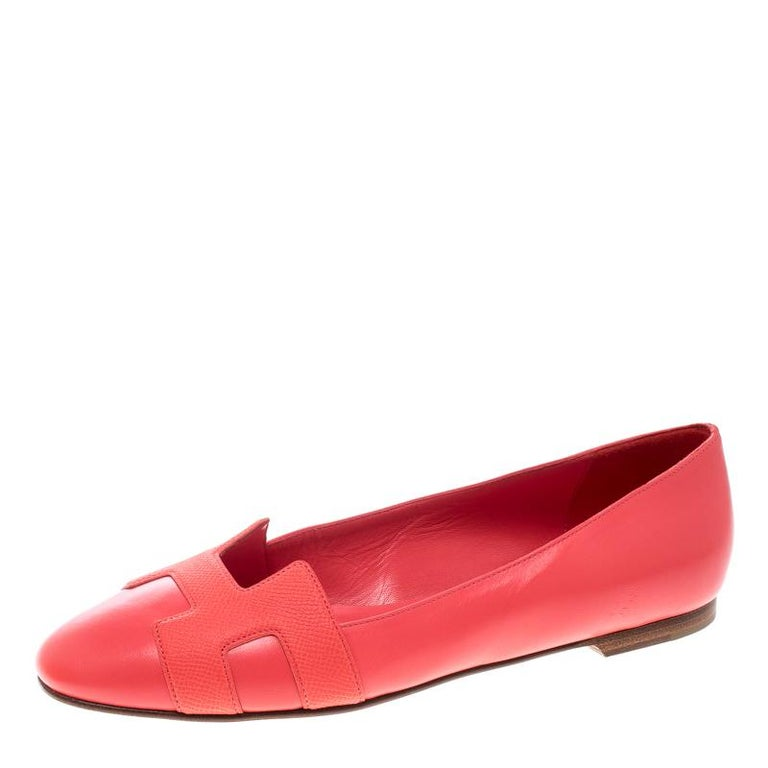 Hermes Sorbet Leather Nice Ballet Flats Size 38 5 For Sale