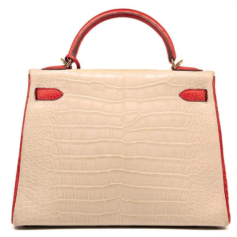 12f314388b Women's Hermès Special Order Bi-Colour Alligator Leather 32cm Kelly Bag For  Sale