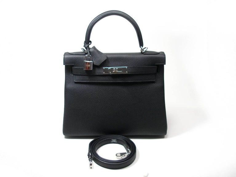 Women s Hermes Special Order Bi Colour Kelly 28 Bag Black Retourne Togo  Palladium BN For Sale 2c9e1d1485a
