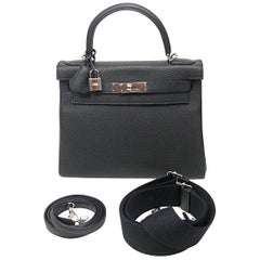 Hermes Special Order Bi Colour Kelly 28 Bag Black Retourne Togo Palladium BN