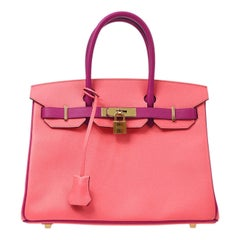 Hermes Special Order Birkin 30 Pink Purple Leather Top Handle Tote Bag in Box