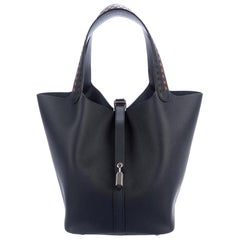 Hermes Special Order Dark Blue Leather Orange Top Handle Satchel Bag in Box