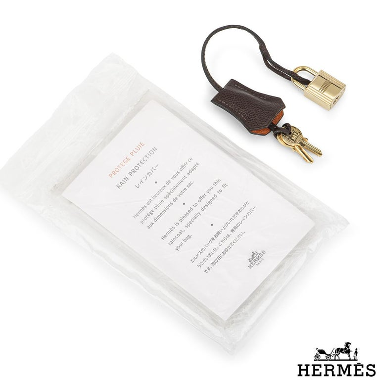 Hermès Special Order Kelly Bi Colour 25cm Chocolate / Orange H Epsom Handbag For Sale 3