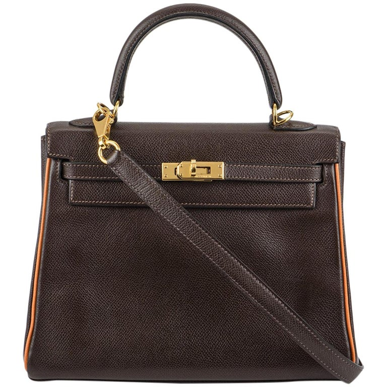 Hermès Special Order Kelly Bi Colour 25cm Chocolate / Orange H Epsom Handbag For Sale