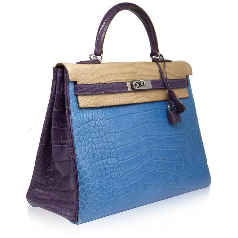 Hermès Special Order Tri-Colour Leather 35cm Kelly Bag For Sale 2