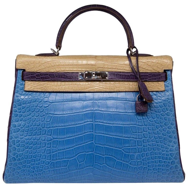 Hermès Special Order Tri-Colour Leather 35cm Kelly Bag For Sale
