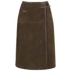 HERMES Sport c.1970's Brown Suede Classic Leather Wrap Skirt