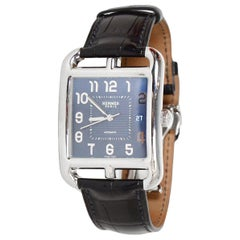 Hermes Men's Stainless Steel Automatic Cape Cod TGM Watch w/ Crocodile Band