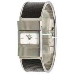 Hermes Stainless Steel Black Lizard Loquet Bracelet Watch