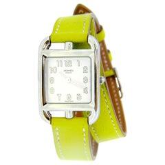 Hermes Stainless Steel Cape Cod Quartz Double Strap Leather Wristwatch