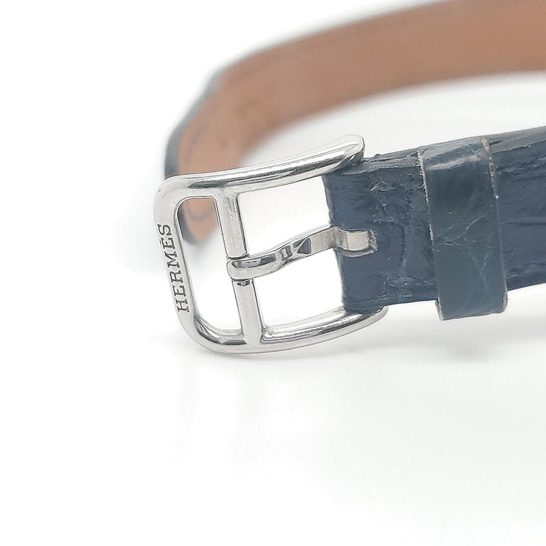 Round Cut Hermes Stainless Steel Diamond Strap Watch For Sale