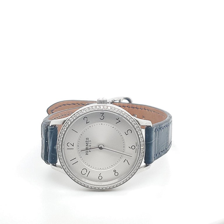 Hermes Stainless Steel Diamond Strap Watch In Excellent Condition For Sale In New York, NY