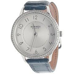 Hermes Stainless Steel Diamond Strap Watch