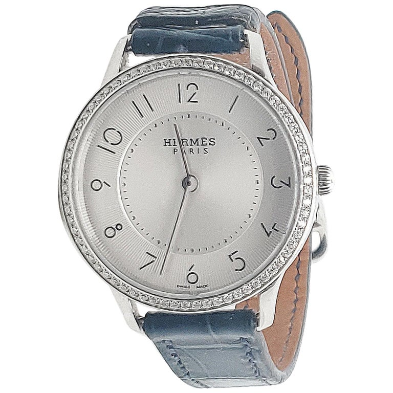Hermes Stainless Steel Diamond Strap Watch For Sale