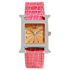 Hermès Stainless Steel Heure H Watch with Pink Croc Band